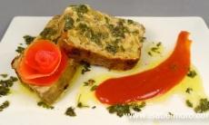 Pastel de verduras a la vinagreta de limón